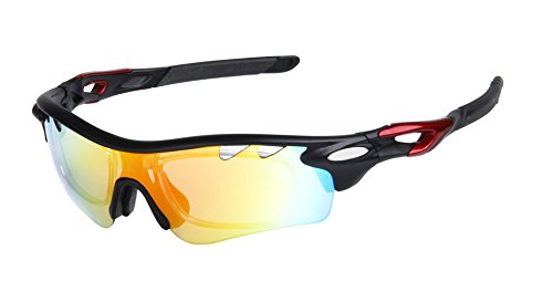 GAMT Polarized Sports Sunglasses With 5 Interchangeable Lenes For Men Women Cycling Black