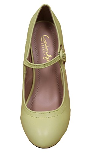 Cambridge Select Femme Bout Rond Mi-talon Mary Jane Robe Jaune