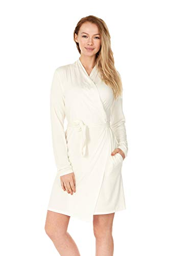 (X America Junior and Plus Size Robes for Women with Pockets and Belt 10+ Colors! (Small, Cream))