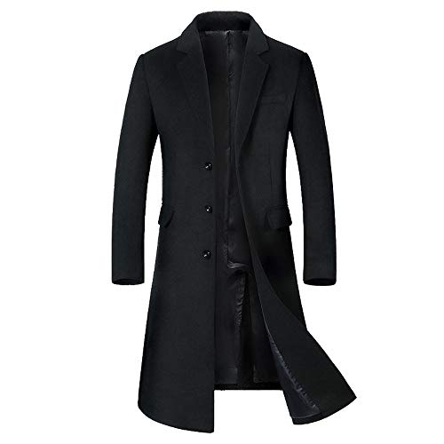 - Dacawin Men's Wool Jacket Winter Warm Fashion Middle Long Trench Button Smart Coats (Black, L)