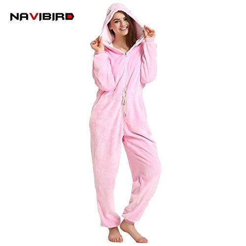 727bea9b0 HITSAN in One Women Snowflake Pajamas Kigurumi Flannel Winter Pyjama  Cartoon Anime Red Bird Hooded Pijama Sleepwear Halloween   Pink Warbler  Size M  ...