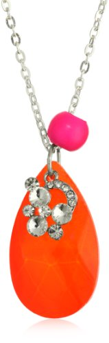 "Lead Jewelry ""Neon ""Lead Crystal Orange Teardrop Necklace"