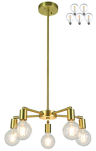 (XiNBEi Lighting 5 Light Chandeliers, Pendant Lighting with LED Bulbs, Satin Brass Finish XB-C1211-5-SB)