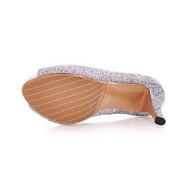 Talones de las mujeres Primavera Verano Otoño zapatos del club de boda sintético Fiesta y vestido de noche de lentejuelas de tacón de aguja Negro Plata Rosa de Oro Pink