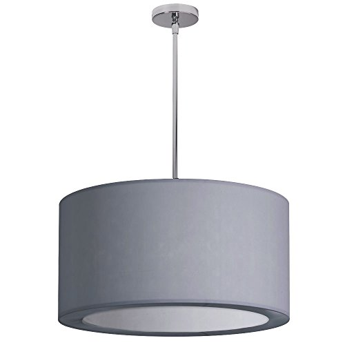 Dainolite Lighting JAS-193P-PC-923 3-Light Pendant with Silver Lycra Shade with Diffuser
