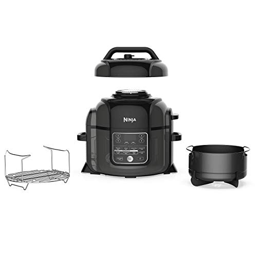 Ninja Foodi Cooker, Steamer & Air w/TenderCrisp Technology Pressure Cooker & Air Fryer All-in-One, 6.5 quart w/dehydrate, Black/Gray (Renewed)