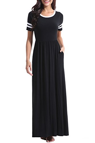 Zattcas Women's Striped Short Sleeve Maxi Dress with Pockets Loose Summer Casual Long Dress (Large, Black) by Zattcas