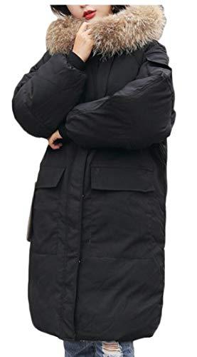 Cappotti Di Incappucciate Pelliccia Di Inverno Di Outwear Nero Finta Eku Donne Giacconi Lana Caldo S1qRZ
