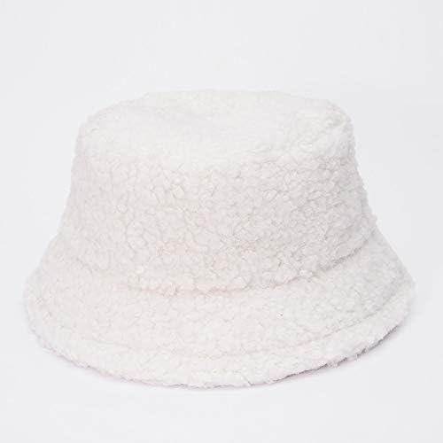 Muts Lamb Faux Fur Bucket Hat Verdikte Warm Teddy Velvet Winter Hoeden for vrouwen Lady Bob Panama Outdoor Pluche Fisherman Hat wi cap ColorWhite