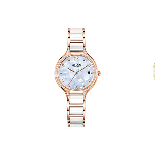 Watch Simple Diamond Quartz Ladies, Two-Tone Polished Bracelet Ceramic Bracelet, Chronograph Wrist Watches for Women, Women's Diamond Dial (Color : White) (White Dial Polished)