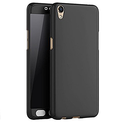 CEDO 360 Degree Full Body Protection Front & Back Case Cover (iPaky Style)  for Oppo A37 With Tempered Glass - Black
