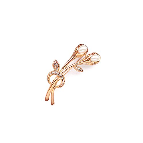 (Blue Pearls - White Freshwater Pearl Cz Stone Brooch and Pink Gold Plated - BPS 1039 O Or Rose BPS 1039 O Or Rose)