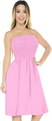 LA LEELA Rayon Solid Bikini Beach Swimsuit Tube Dress Light Pink 2041 One Size