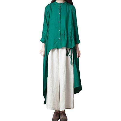 - AOJIAN Blouse Women Long Sleeve T Shirt Irregular Hem Button Temperament Tees Tank Shirts Tops Green