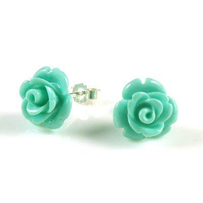 925 Sterling Silver Blue Carved Coral Flower Rose Stud Cute Earrings Set (Flower Carved Rose Coral)