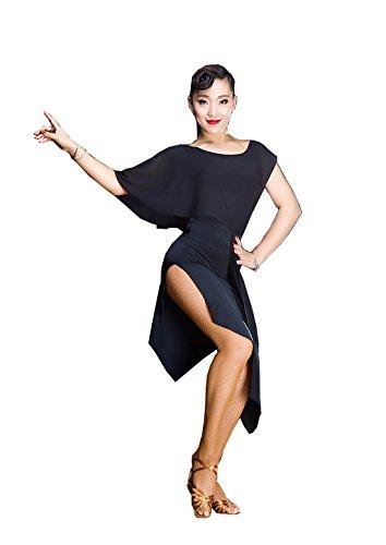Glisser Coutures En Mousseline De Soie Robe De Danse Latine Cha Cha Jupes Jupe Valse Jupe De Bal Noire