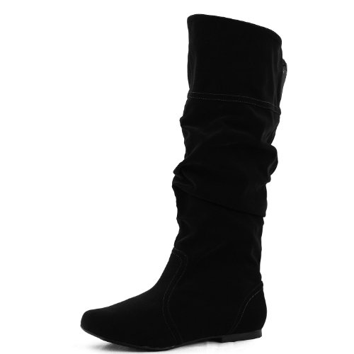 Qupid Neo-144 Vegan Leather Slouchy Almond Toe Mid Calf Slip On Blue Elastic Boots Black Pink PU...