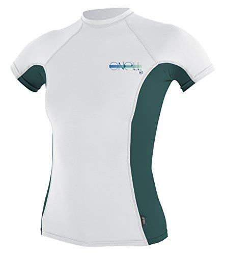 Rash Vest White (O'Neill Women's Premium Skins Upf 50+ Short Sleeve Rash Guard, White/Deep Teal/White, XX-Small)