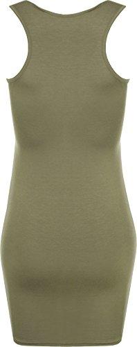 et dos Robes Uni dbardeur a Tailles moulant sans 42 Femmes top WearAll Vert nageur manches robe mini 36 74ng00F