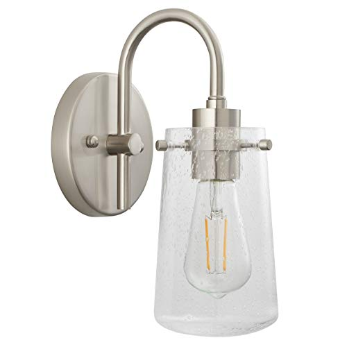 Brushed Single Nickel Light - Lentia Hallway Wall Sconce | Brushed Nickel Bathroom Vanity Light with LED Bulb LL-WL661-1BN