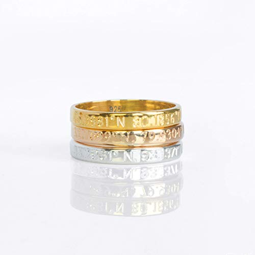 - Custom Engraved Thin Ring Band in Either Sterling Silver, Rose Gold, or Yellow Gold - Coordinates, Secret Message, Name Ring [R3]