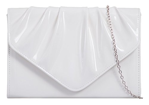 Clutch Handbags Girly Bag Pleated White Patent Za8HB0WHz