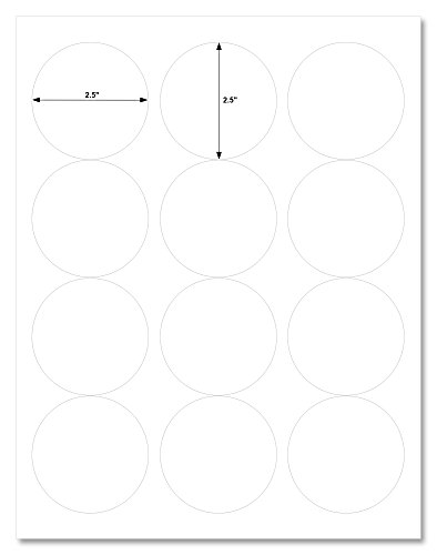 Waterproof Clear Gloss 2.5 Inch Diameter Circle Labels for Laser Printer with Template and Printing Instructions, 5 Sheets, 60 Labels (CL25)