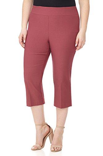 (Rekucci Curvy Woman Plus Size Classic Wide Waist Flattering Fit Capri (24W,Desert Rose))