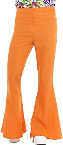 (Mens Orange 1960s 1970s Hippie Hippy Woodstock Peace Love Kick Flares Pants Fancy Dress Costume Outfit Trousers (Orange)