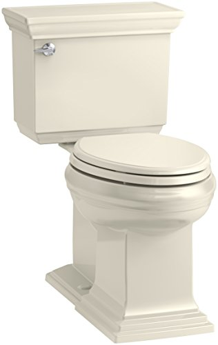 KOHLER K-6669-47 Memoirs Stately Comfort Height Elongated 1.28 GPF Toilet with Aqua Piston Flush Technology, Concealed Trap Way and Left-Hand Trip Lever (2 Piece), Almond