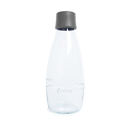 Retap Eco-Friendly Refillable BPA Free Borosilicate Glass Bottle and Water Infusion - Grey – 17-Ounce by ReTap