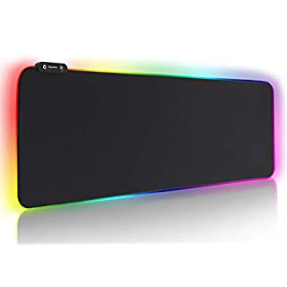 REAWUL RGB Mouse Pad Large Gaming Mousepad Soft Oversize Glowing Led Extended Mouse Mat, Non-Slip Rubber Base Computer Keyboard Pad, 14 RGB Lighting Modes for Gaming - 31.5 X 11.8in