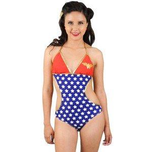Wonder Woman Stars DC Comics Triangle Monokini One Piece Bathing Suit S -
