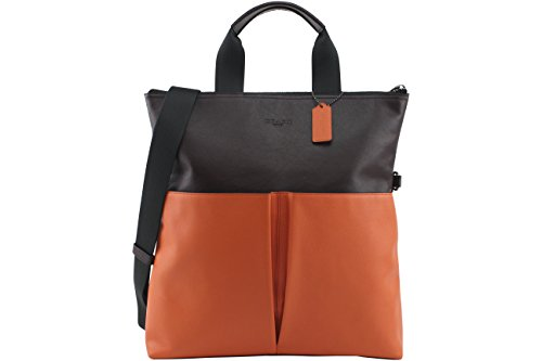 Coach Men's Charles Foldover Tote In Color-Block Leather, Style F11740, QB Oxblood Coral by Coach