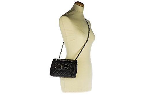 Moschino borsa donna a spalla shopping in pelle nuova nero