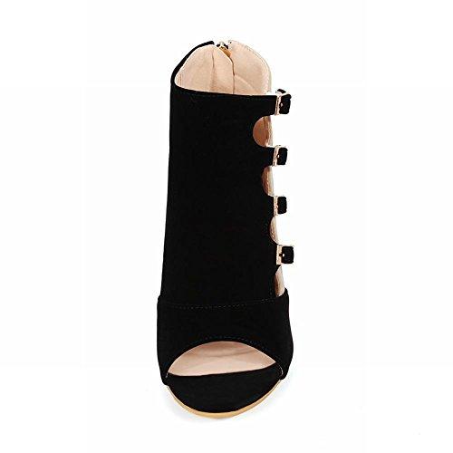 Carolbar Kvinners Zip Multi Spenne Diverse Farger Sexy Chic Peep Toe Høy Stiletthæl Kjole Sommer Boots Black
