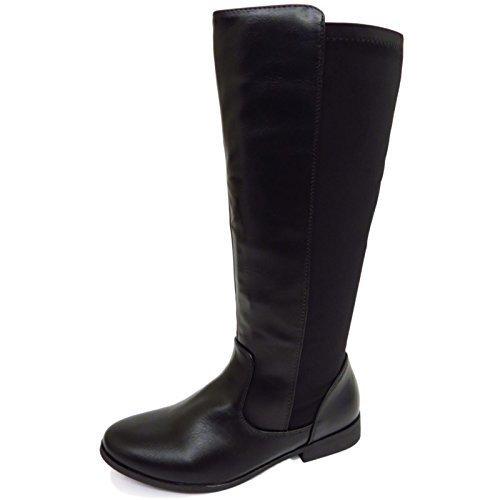 HeelzSoHigh Damen Schwarz, Flach kniehoch Riding Reißverschluss Elastisch Wade Hoch Stiefel Schuhe Größen 3-8