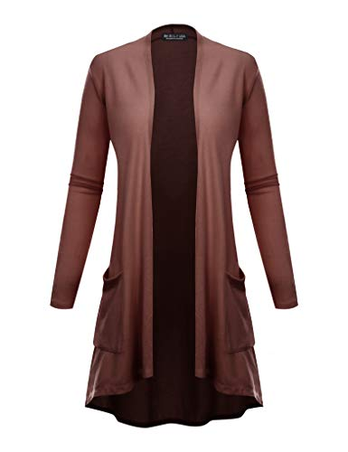BH B.I.L.Y USA Women's New Open Front Long Sleeve Terry Rayon Cardigan Mauve Small