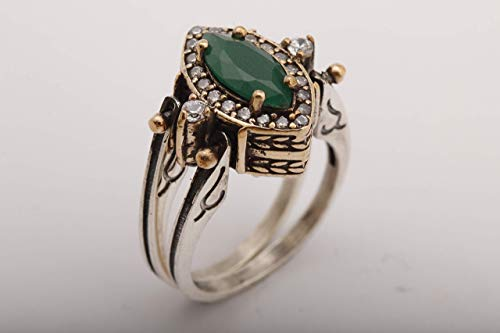 Turkish Handmade Jewelry Reversible Marquise Cut Ruby Emerald Jade and Round Topaz 925 Sterling Silver Ring Size Options - Topaz Ring Marquise