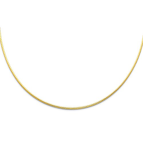 Sonia Jewels 14k Yellow Gold 1.5mm Sparkle Omega Chain Necklace 17 Inches ()