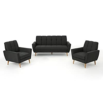 Angelina Mid Century Fabric Sofa Chat Set