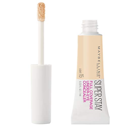 Maybelline Super Stay Super Stay Full Coverage, Brightening, Long Lasting, Under-eye Concealer Liquid Makeup Forup to 24H Wear, With Paddle Applicator, Light, 0.23 fl. oz.