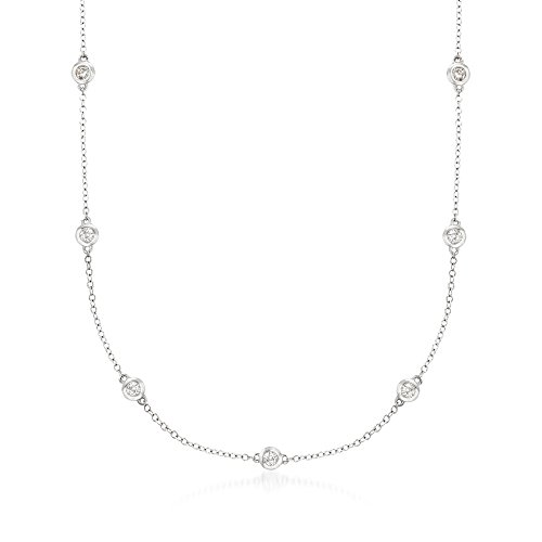 Ross-Simons 0.33 ct. t.w. Graduated Bezel-Set Diamond Station Necklace in 14kt White ()