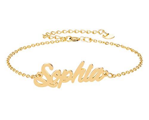 HUAN XUN Sophia Cursive Script Name Bracelet 18k Goldplated ()