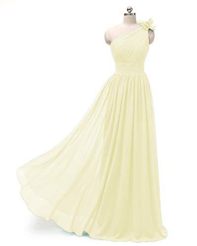 line Pleated Shoulder Long A Evening Chiffon Formal Dress Dresses One Yellow Bridesmaid E60qCxE1