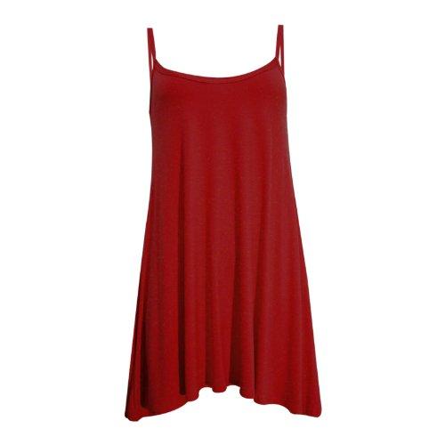 Fashion 4 Less - Vestido sin mangas para mujer, varias tallas, varios colores lisos Vino