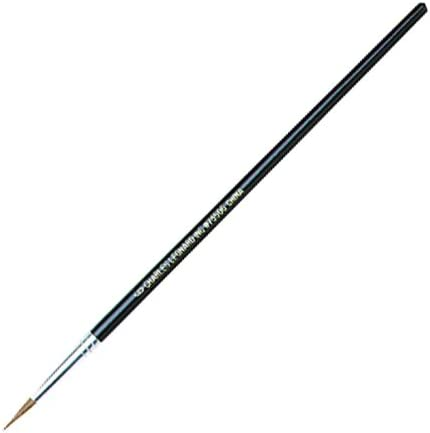Black Handle Camel Hair Charles Leonard Water Color Paint Brushes with Round Pointed Tip 0.38 Inch # 1 12-Pack 73501