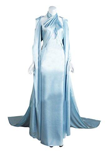 Women's Daenerys Targaryen Costume, Deluxe Halloween Dragon Queen Cosplay Dress with Cloak (Medium, A) ()