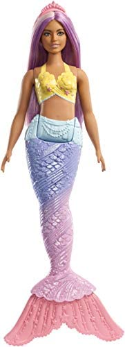 Barbie Dreamtopia Mermaid Doll, Approx. 12-Inch, Rainbow Tail, Purple Hair, for 3 to 7 Year Olds