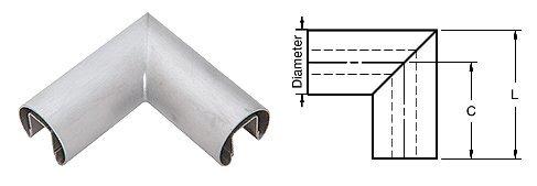 C.R. LAURENCE GR40HBS CRL Brushed Stainless 4'' Diameter 90 Degree Horizontal Corner for 1/2'' or 5/8'' Glass Cap Railing